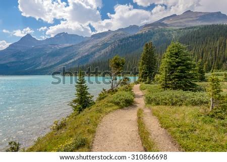 Fragment of mountain lake trail in Alberta, Canada, Rocky Mountains. - stock photo
