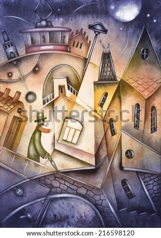 Fragment of old town - stock photo