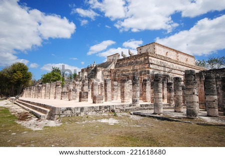 Fragment of ruins, Archaeological site in Chichen Itza, Mexico - stock photo