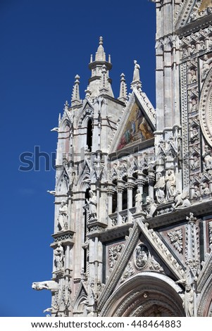 fragment of Siena cathedral in a sunny day, Tuscany, Italy