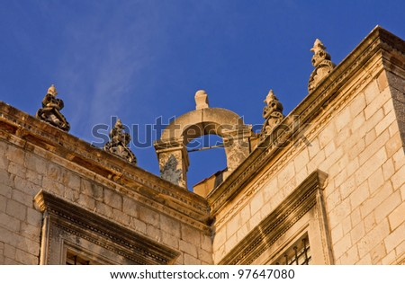 Fragment of Sponza Palace in Dubrovnik, Croatia, at sunset - stock photo