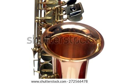 Fragment of Tenor Saxophone on white background. Tenor sax close up. Close up of keys tenor saxophone. Wonderful instrument. - stock photo