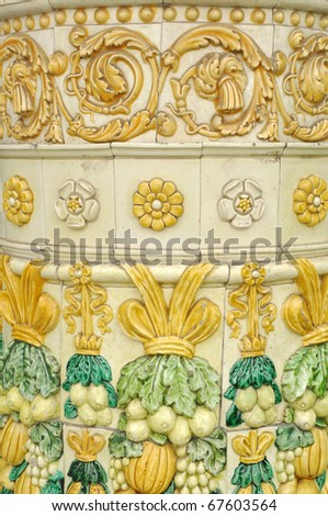 fragment of the ancient coloured mosaic - stock photo