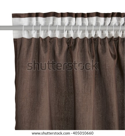 Fragment of the brown curtain with mount. Back view. Isolated on white background. Include path.