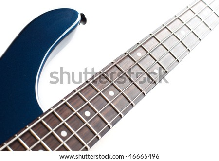 fragment of the dark blue electric guitar isolated on over white