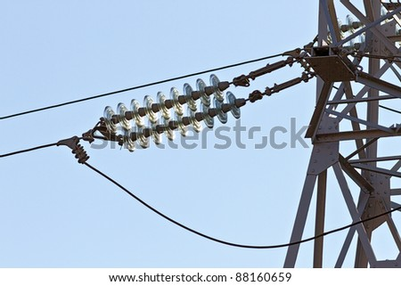 Fragment of the high power lines - stock photo