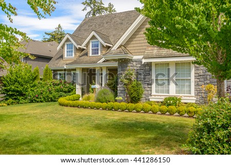 Fragment of the house with nice window. - stock photo