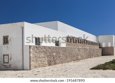 Fragment of the inner building of Sagres Fortress complex in Portugal.