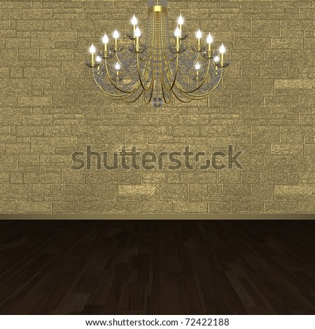 Fragment of the interior. Chandelier against the background of a stone wall. (3D visualization). - stock photo