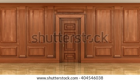 Fragment of the interior of classic wood panels on the wall. decor element, 3d illustration - stock photo