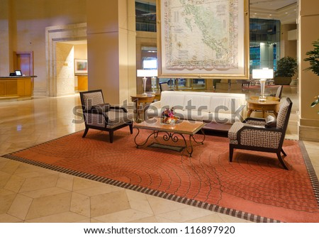 Fragment of the lobby of the five stars luxury hotel. Lounge area. Interior design. Vancouver, Canada. - stock photo