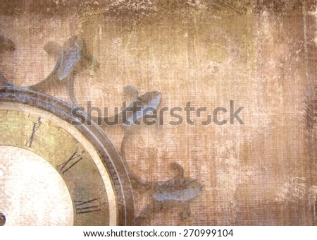 Fragment of the old vintage wall clock with roman numbers on a grunge background. Abstract composition for your design. Brown illustration of part clockface without arrows in the shape of ship wheel. - stock photo