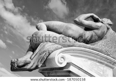 fragment of the statue of David on the square Michelangelo. Florence, Italy - stock photo