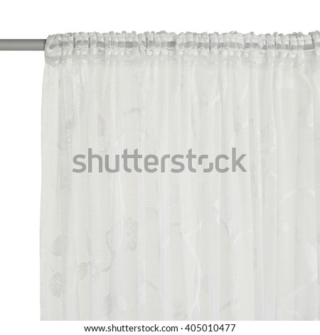 Fragment of the translucent curtain with mount. Front view. Isolated on white background. Include path.