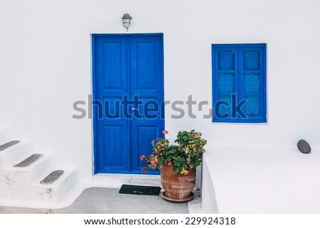 Fragment of the typical house in Santorini, located in the town of Oia, Thira island, Greece. - stock photo