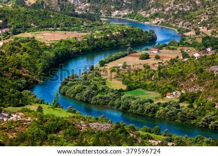 Fragment of Trebisnica river in Bosnia and Hercegovina - stock photo