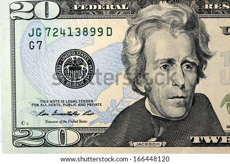 Fragment of Twenty Dollar Bill - President Jackson - stock photo
