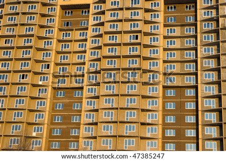 Fragment of under construction apartment building facade in saint-Petersburg, Russia