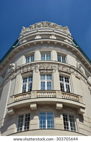 Fragment of Vienna architecture, facade of old building