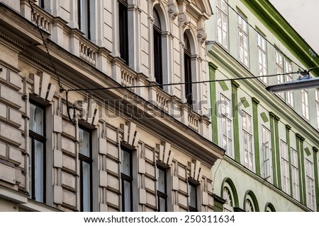 Fragment of Vienna architecture, facades of old buildings - stock photo