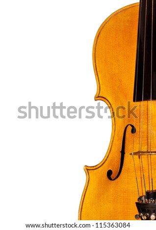 Fragment of violin isolated on white background