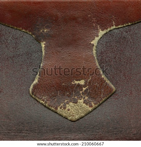 fragment of worn old red-brown leather products