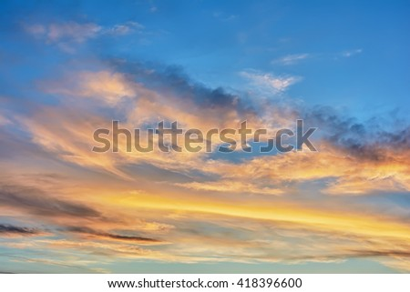 Fragment sky with clouds at sunset. - stock photo