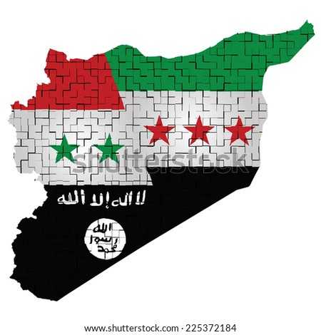 Fragmented flag of Syria representing the conflict between the Syrian government and the Syrian opposition forces isolated on white background  - stock photo