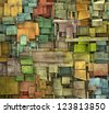 fragmented multiple color square tile grunge pattern backdrop - stock photo