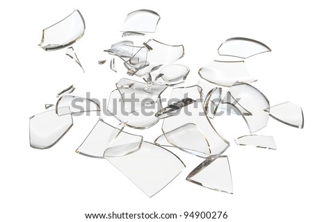 Fragments glass crashed object. 3D rendering - stock photo