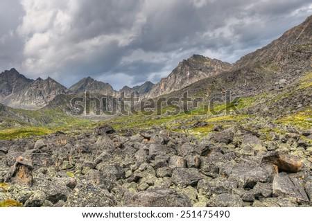 Fragments of rock in the mountain tundra. Eastern Sayan. Buryatia - stock photo