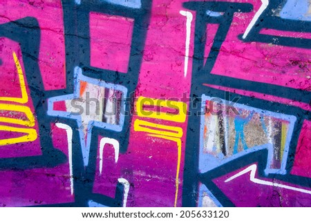 fragments of the surface of bright colors for graffiti, closeup - stock photo