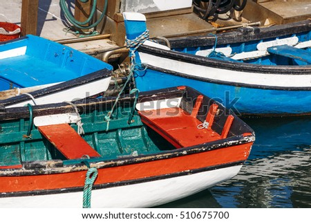 Fragments of the typical Portuguese fisherman's boat in Doca Dos Pescadores in Setubal, Portugal.