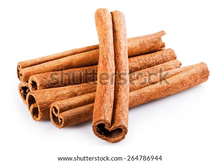 Fragrant cinnamon sticks isolated on white background. Clipping Path - stock photo