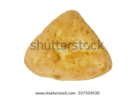 Fragrant delicious Arabic bread, isolated on white background, clipping path. - stock photo