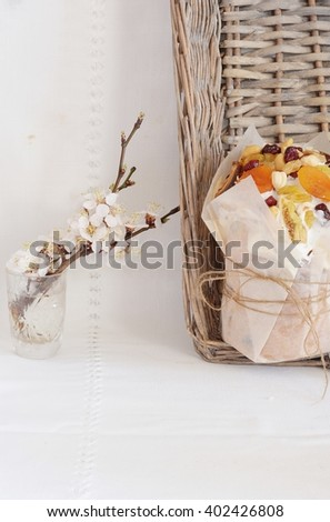 fragrant Easter cake with icing on a white background - stock photo