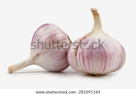 fragrant garlic isolated on a white background. spices - stock photo