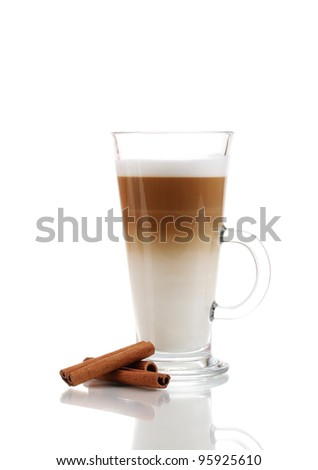 Fragrant ?offee latte in glass cup and cinnamon isolated on white - stock photo