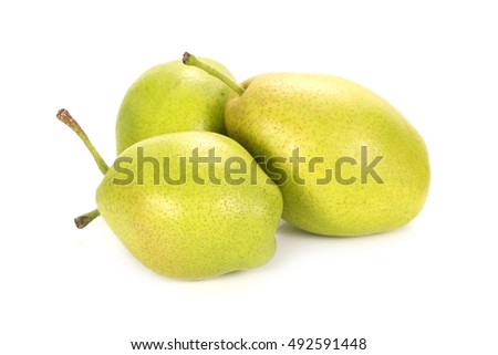 fragrant pear on white background.