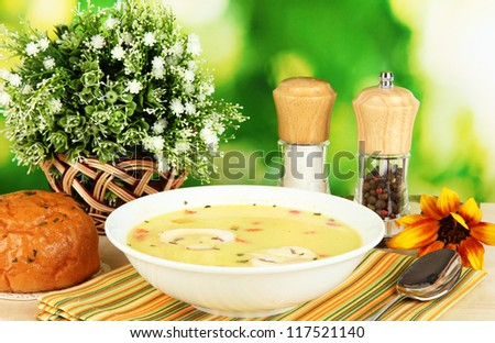 Fragrant soup in white plate on table on natural background close-up - stock photo