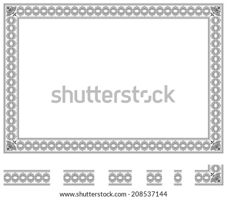 Frame and modular elements to create others at any size - stock photo