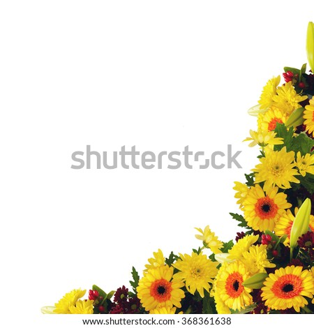 Frame border with bouquet of yellow flowers on the isolated white background