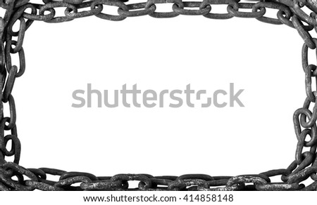 Frame Chain, Rusty Old Chains Isolated on White Background - stock photo