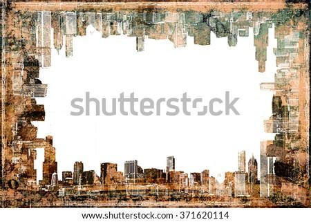 Frame Chicago Skyline  Vintage Style - stock photo