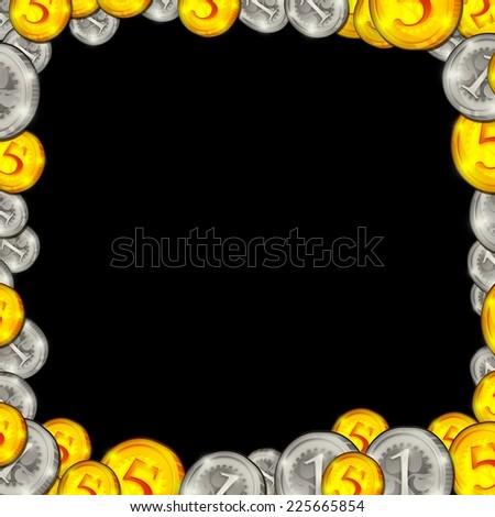 frame coins isolated on black illustration - stock photo