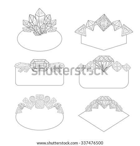 Frame Collection with Gems and Crystals. Set of doodle hand drawn jewelry labels for wedding invitations, save the date and birthday cards, etc. Shaped frames with precious gemstones isolated on white - stock photo