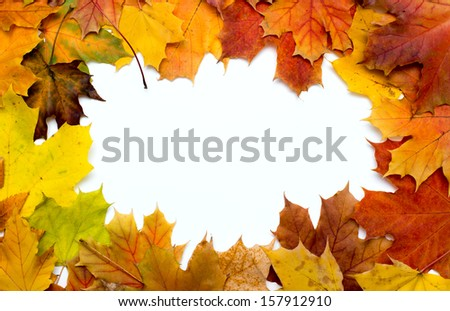 Frame composed of colorful autumn leaves