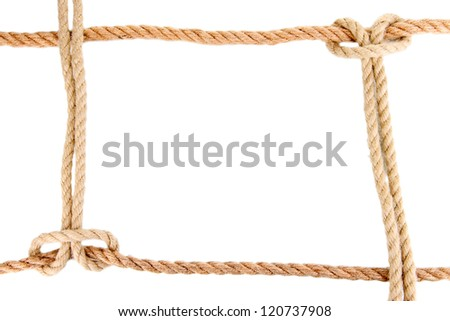 Frame composed of rope isolated on white - stock photo