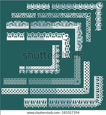 Frame Elements Set - different lace edges and borders. Raster version - stock photo