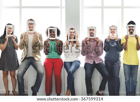 Frame Face Communication Colleagues Corporate Concept - stock photo